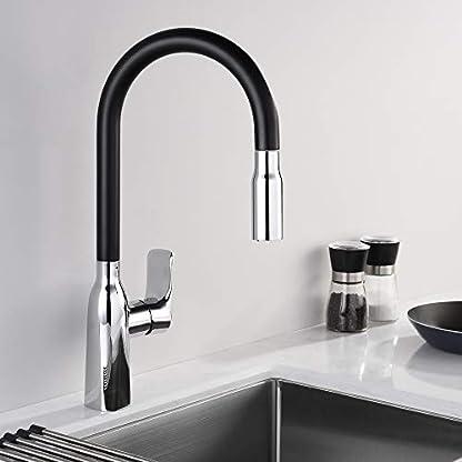 Homelody Grifo de Cocina Extraíble Color Negro con Aireador Desmontable Grifo para Fregadero de Cocina con Diseño Moderno Giratorio a 360°