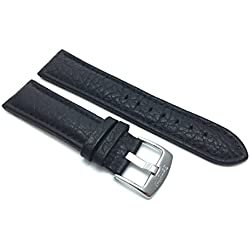 Extra Long (XL) 28mm Black Classic Genuine Leather Buffalo Pattern Watch Strap Band, with Stainless Steel Buckle, NEW!