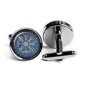 Viking Runes Vegvisir Viking Compass Wikinger Runen Runenkreis Kompass Rhodium Silber Manschettenknöpfe