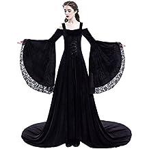 tianxinxishop Vestido de Traje Medieval sin Hombros Vestido Renacentista para Mmujer Vestido Largo de Estilo Victoriano