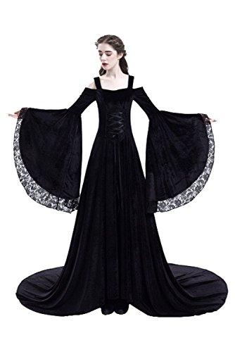 Beutyshop Damen Langarm Mittelalter Kleid-Gothic Viktorianischen Königin Kostüm mit Schnürung und...