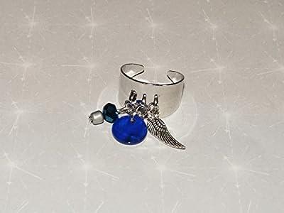 Bague jonc plaqué argent avec sequin bleu/aile argentée/perles, breloques pampilles style deloche réglable