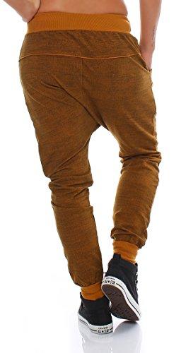 Moda Italy trendy Damen Sweatpants Baggy Boyfriend Freizeithose Jogginghose Baumwolle Sporthose Loose fit Senf