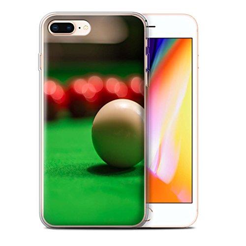 Stuff4 Gel TPU Hülle / Case für Apple iPhone 8 Plus / Blaue Kugel/Rack/Rosa Muster / Snooker Kollektion Weiße Kugel