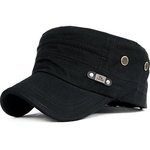 Kuyou Unisex Army Military Flat Cap Vintage Cotton Baseballmütze Kappe, 006Black, Einheitsgröße