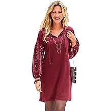 bf4692125bd1 VENCA Robe Courte col Caftan Manches Longues avec imprimés Femme - 015838
