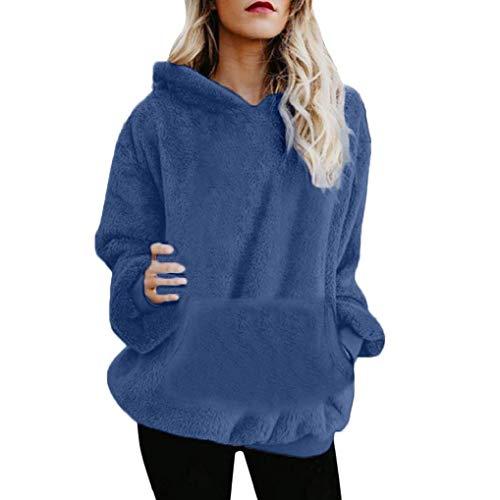 KOKOUK Women Hoodie Ladies Plus Size Long Sleeve Warm-up Faux Fur Zipper Pocket Fleece Hooded Sweatshirt Oversized Coat (B Dark Blue)
