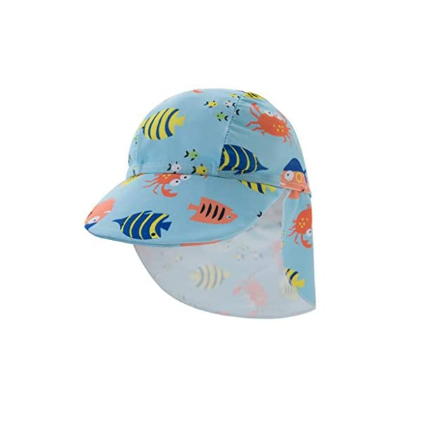 QIAODOUMADAI Summer Baby Boy Traje de baño + Sombrero 2 Unids Set Peces Mundo Marino Traje de baño Infant Toddler Kids… 5