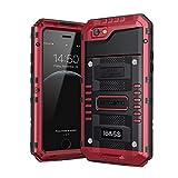 Seacosmo iPhone 6 Wasserdicht Hülle, Militärstandard Schutzhülle mit Eingebautem Bildschirmschutz Stoßfest Metall Handyhülle für iPhone 6s, Rot