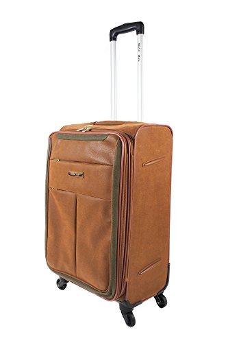 Premium 4Rad Faux Wildleder Leder Koffer Gepäck Reisetasche Trolley Beige suede 81,3 cm (32 zoll)