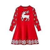 Riou Weihnachten Baby Kleidung Set Pullover Outfits Winteranzug Kinder Baby Mädchen Deer Gestreifte Prinzessin Kleid Weihnachten Outfits Kleidung (130, Rot G)