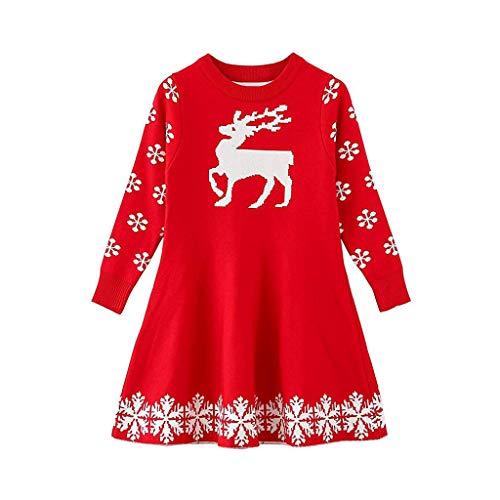 Riou Weihnachten Baby Kleidung Set Pullover Outfits Winteranzug Kinder Baby Mädchen Deer Gestreifte Prinzessin Kleid Weihnachten Outfits Kleidung (100, Rot G)