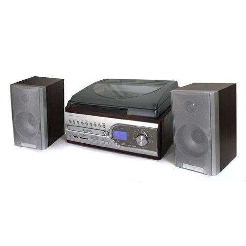 Elektronik-Star Vintage Design HiFi Stereoanlage mit Plattenspieler (USB/SD-Eingänge, CD MP3 Radio, 33/45 RPM)
