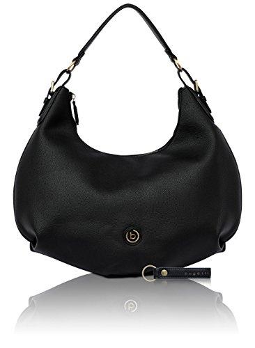 bugatti Passione Kunstleder Hobo Handtasche für Damen - edle Schultertasche in schwarz (Logo Hobo Handtasche)
