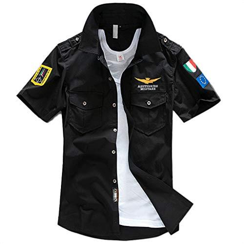 T-Shirt Uomo Pacco da 2 -Cotone Premium - Maglietta a Scollo V Soffice e Flessibile Slim Fit Maniche Corte (Nero, XXXXXL)