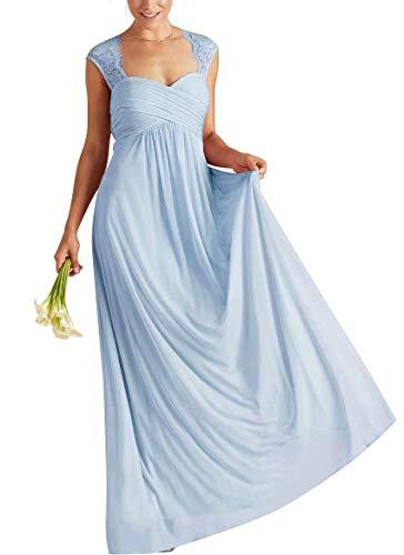 Brautjungfernkleider Damen Abendkleider Elegant Lang A-Linie Chiffon Ballkleider Spitze Light Blue EUR 52 - Ballkleid Light