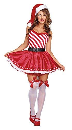 Frauen Weihnachten Kostüme Striped Fluffy Kleid Uniform Weihnachtsmann Cosplay (Exotische Santa Kostüme)