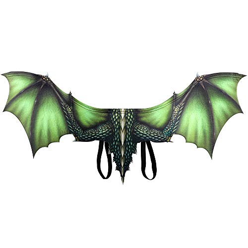 TTXLY Halloween Flügel Requisiten Karneval Erwachsene Dekorative Vlies Drachen Cosplay Flügel Requisiten Karneval Party Animal Kostüm Maskerade Requisiten,Green