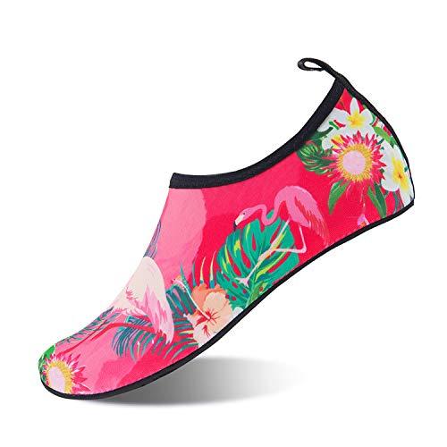 Scarpe da Immersione Scarpette da Bagno Mare Spiaggia Antiscivolo Scarpe Acqua Pantofole da Casa per Beach Surf Swim Yoga Scarpe a Piedi Nudi dell'Acqua Scarpe Acquatici per Donna Uomo(Rosa 40 41)