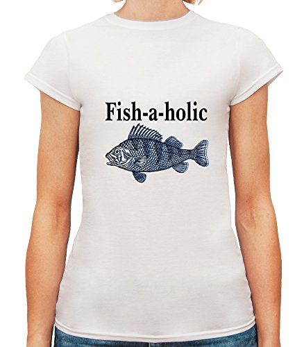 Mesdames T-Shirt avec Fishaholic Illustration imprimé. Blanc