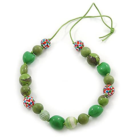 Collier de perles en bois d'olivier et cordon en coton 88cmVert