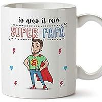 """Mugffins Papà Tazza/Mug –""""Super papà Migliore del Mondo"""" – Idee Regali Festa del Papà/Buon Compleanno/Tazze Originali di Caffè. Ceramica 350 mL"""