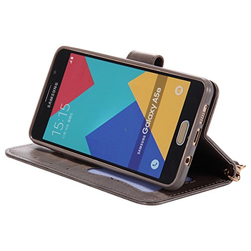 Custodia Galaxy A5 2016 - Cover per Samsung Galaxy A5 2016 - ISAKEN Fashion Agganciabile Luminosa Custodia con LED Lampeggiante PU Pelle Portafoglio Tinta Unita Cover Caso per Samsung A5 2016, Luxury  Gialla