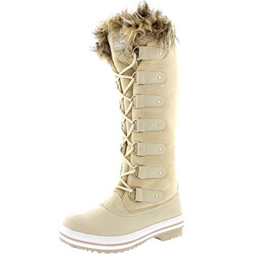 Damen Pelz Cuff Schnüren Gummisohle Knie Hoch Winter Schnee Regen Schuh Stiefel Beige Wildleder