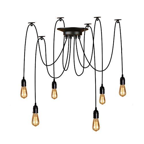 Lightsjoy Kronleuchter Vintage E27 Industrial Pendelleuchten Hängelampe Deckenleuchte Spinne Lampen Anhänger Höhenverstellbar Beleuchtung 6 Flamming für Wohnzimmer Esszimmer Esszimmer Bar