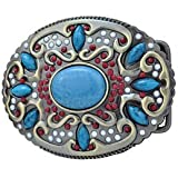 Western Native American Belt Buckle Turquoise Stone Indian Ladies Woman Cowgirl