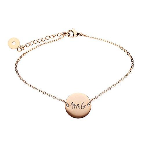 URBANHELDEN - Armband mit rundem Anhänger und Wunschgravur - Damen Schmuck Verstellbar, Edelstahl - Armschmuck Armkette Gravur Initialen - Rosegold G17