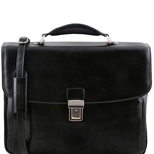 Tuscany Leather Alessandria - TL SMART Multifach-Notebooktasche aus Leder Dunkelbraun Lederaktentaschen Schwarz