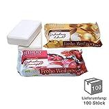 100 x UMIDO Seife 80 g Weihnachten je 1 Stück Mandel und Granatapfel - Hand-Seife – Waschstück - Seifenstück für ihre Körperpflege - Festseife - 100 x 80 g (11.)