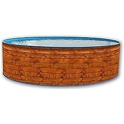 Piscine acier ronde etnica promo aspect bois 4,00 x 0,90m - toi 8101
