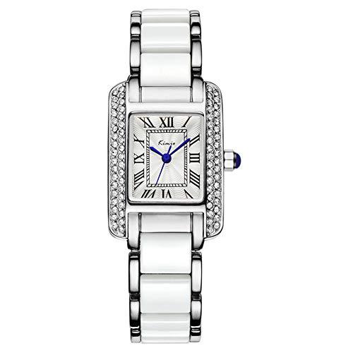 Orologio al quarzo da donna Orologio da polso quadrato in diamanti con quadrante blu moda, marca imitazione, orologio da polso impermeabile da studente in ceramica