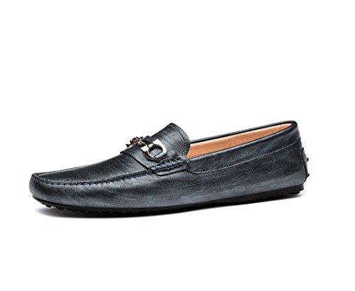 OPP Hommes Mocassins Loafers Ornement de Métal Chaussures de Conduite Gris Argent¨¦