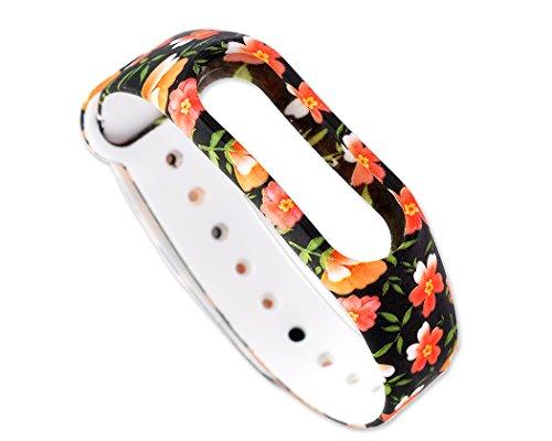 DSstyles Ersatzband für Xiaomi Mi Band 2 Armband Smart Armband Fitness Tracker Strap - Orange Blume