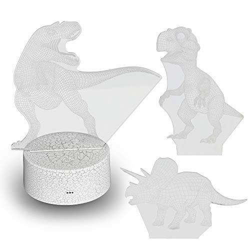 Hlearit Dinosaurio Luz de noche - Ilusión 3D Lámpara Visual para Niños Acrílico LED Dinosaurio Mesa de escritorio Lampe de Nuit Enchufar Los mejores regalos de control remoto Cambiando 7 colores