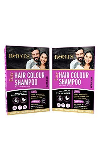 Roots Easy Hair Colour Shampoo (5 Travel Sachets -30 ml Each) , Pack of 2