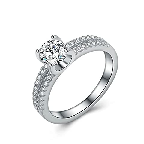 AnaZoz (Free Engraving) Fashion Jewelry Simple Personality Silver Plated Ring 4 Prongs Solitaire Cubic Zirconia Wedding Rings for Her UK Size M 1/2