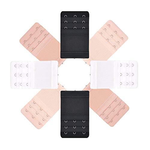 MELLIEX BH Verlängerung Verschluss Bra Extender Strap Elastisch Band Weich Gurt Erweiterung 3 Reihen 3 Haken - 8 Stück (Schwarz, Weiß, Beige, Hautfarbe) -