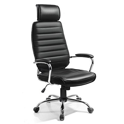 Luxus Chefsessel Drehstuhl Bürostuhl Schreibtischstuhl Sessel Stuhl höhenverstellbar Wippfunktion mit Kopfstütze schwarz (C399B)
