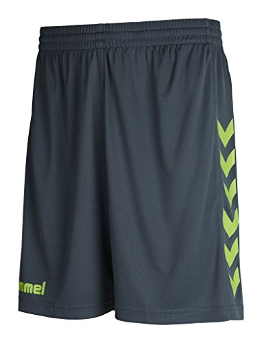 Hummel Core - Pantaloncini da uomo in poliestere, Uomo, Core Poly Shorts, Dark Slate/Green Flash, M
