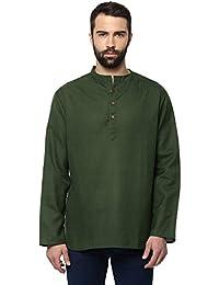 Vivids India Men's Green Short Kurta - G178