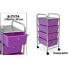 DonRegaloWeb - Carro de baño de 4 cajones de pvc en color violeta y estructura de metal. Medidas: 76x37x32cm