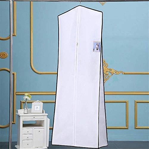 W-D Hochzeitskleid Hängendes Hochzeitskleid Brautkleid Kleiderhülle Aufbewahrungstasche Carry Zip Staubdicht - Weiß/Schwarz Elegantes Abendkleid, Weiß, 180x60x30cm