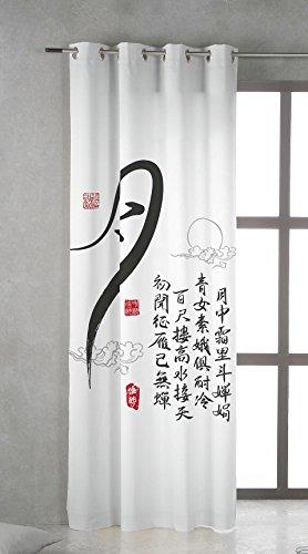 TSUKI KANJI Cortina confeccionada con Ojales metálicos 150 x 260 Zen, Chillout, japonesa