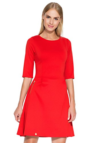 Makadamia - Robe - Patineuse - Manches Courtes - Femme rouge Red red