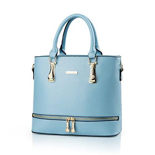 Weibliche Tasche Europa Und Die Vereinigten Staaten Elegant Einfach Handtasche Diamant Persönlichkeit Reißverschluss Messenger Umhängetasche Skyblue
