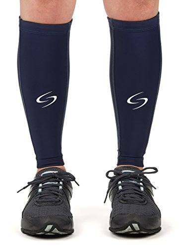 Kompressions-Wadenbandage, für Laufen, Radfahren, Basketball & Crossfit, 1 Paar - Erstklassige Kompressions-Stützstrümpfe für Damen und Herren Größe L blau - Footless Schlauch